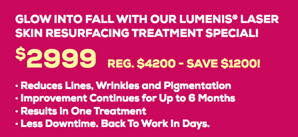 Lumenis® consult must be completed by 9.30.18. Treatment must be received by 12.31.18. During a consultation, risks, benefits and medical history will be discussed and a signed consent waiver is required. It is important to discuss your medical history during your consultation. Some restrictions apply.